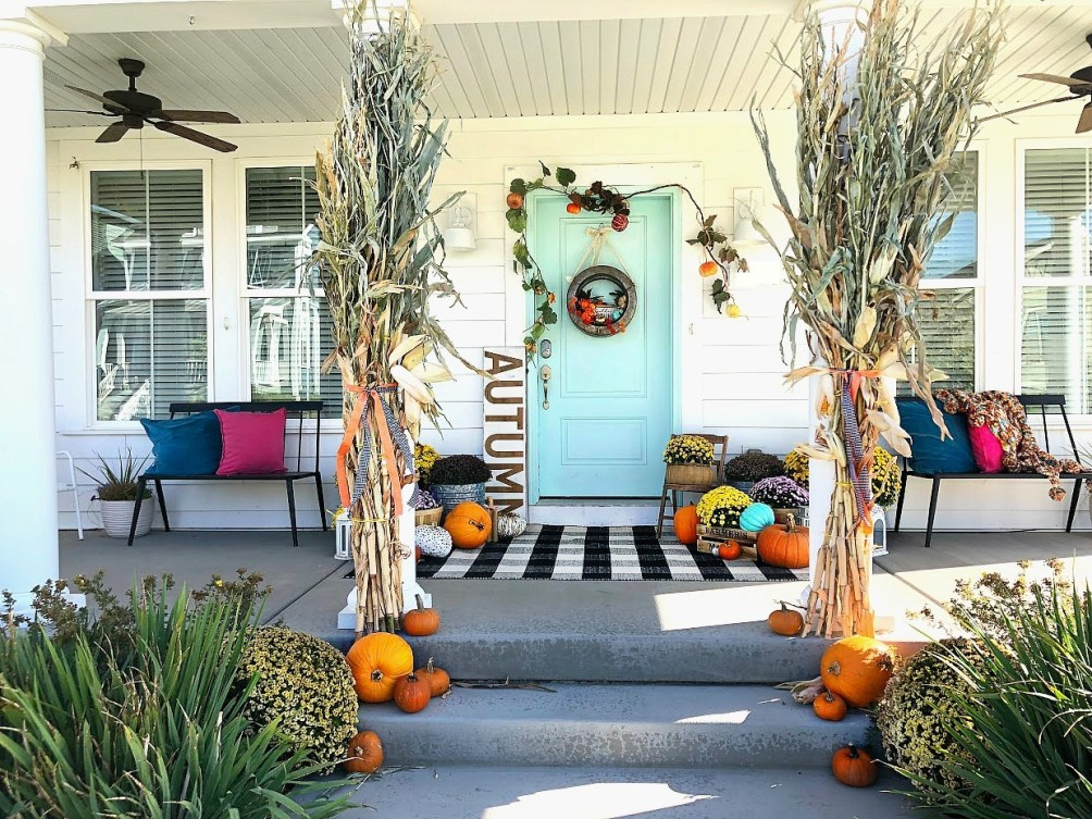 teal and plaid fall porch