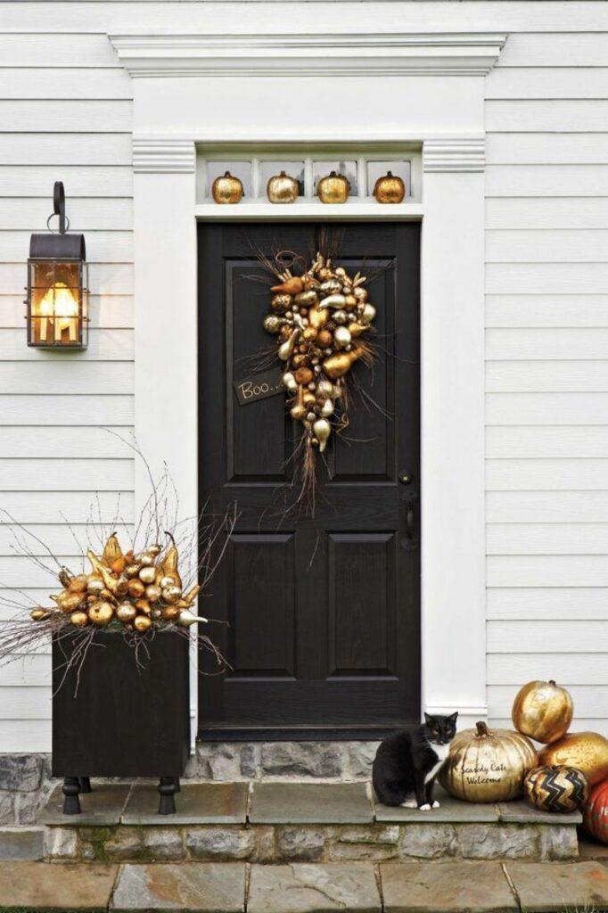 gilded pumpkins fall porch
