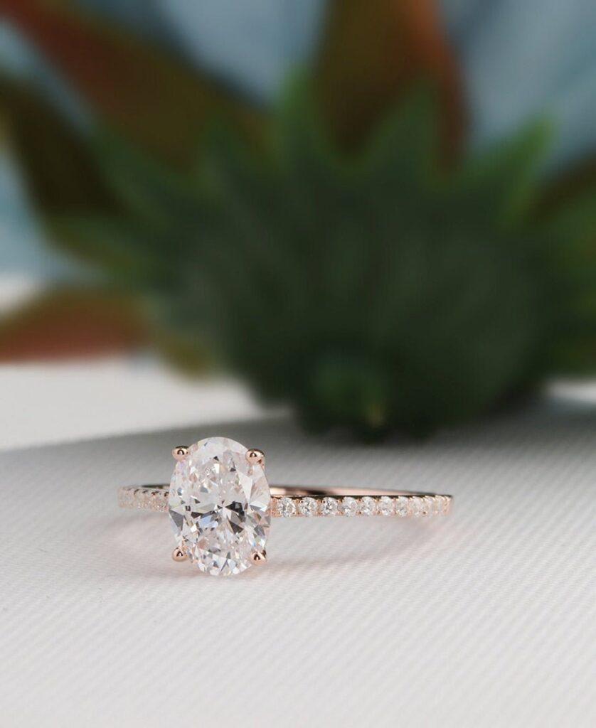 Moissanite engagement ring oval