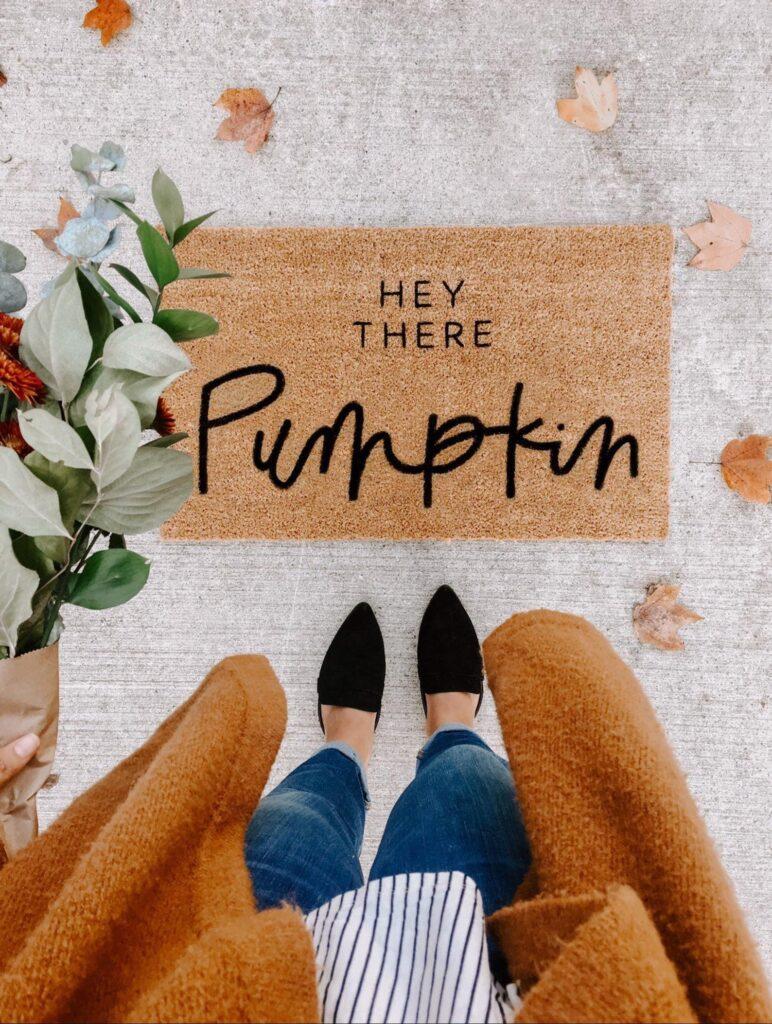 pumpkin fall door mat