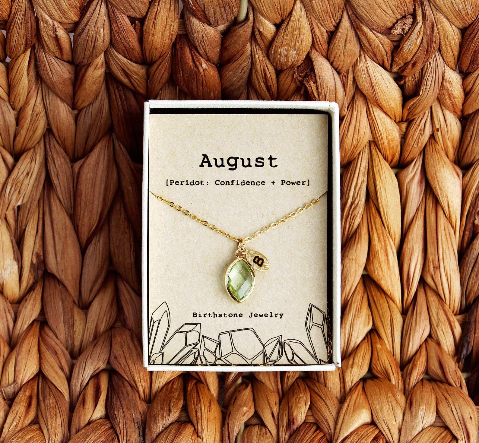August birthstone necklace