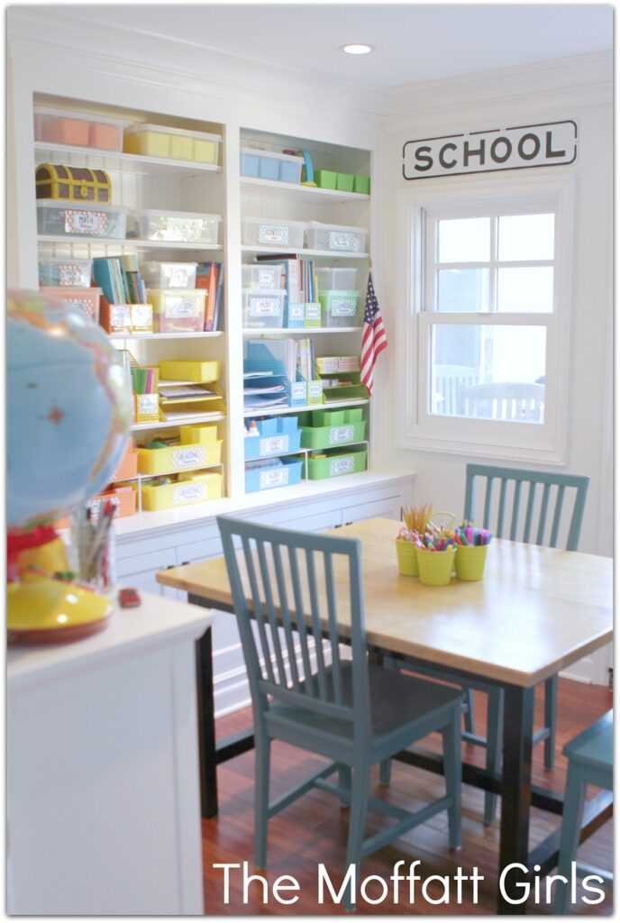 Colorful and Organized Homeschool Room