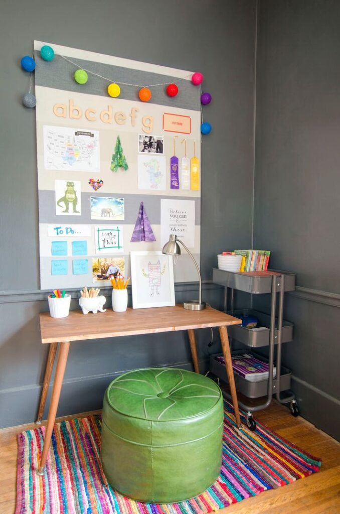 Homeschool Room Ideas with a DIY Homemade Desk