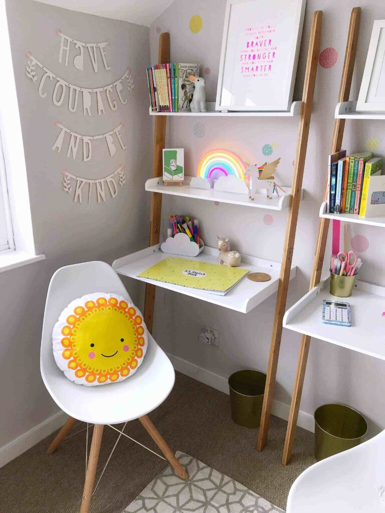 Homeschool Room Ideas with a Ladder Desk