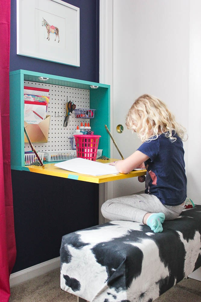 Homeschool Room Ideas with a DIY Wall Mount Desk
