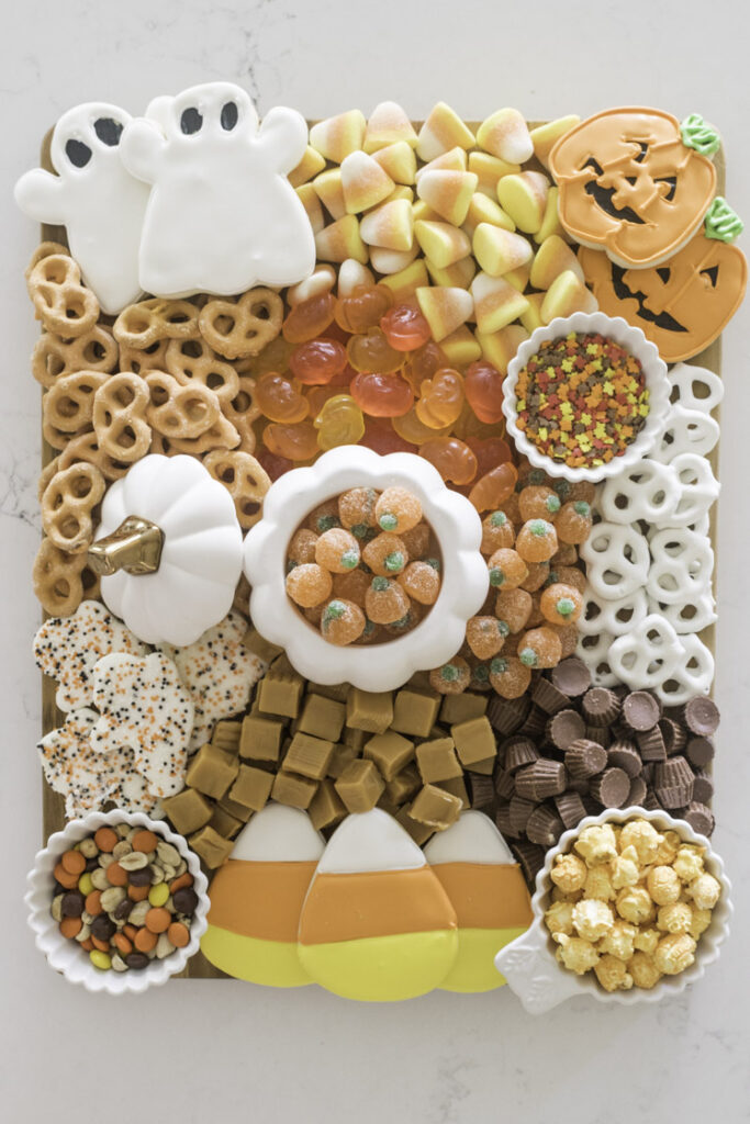Halloween Charcuterie Board that is so festive and cute. Kids will love this for a Halloween party!
