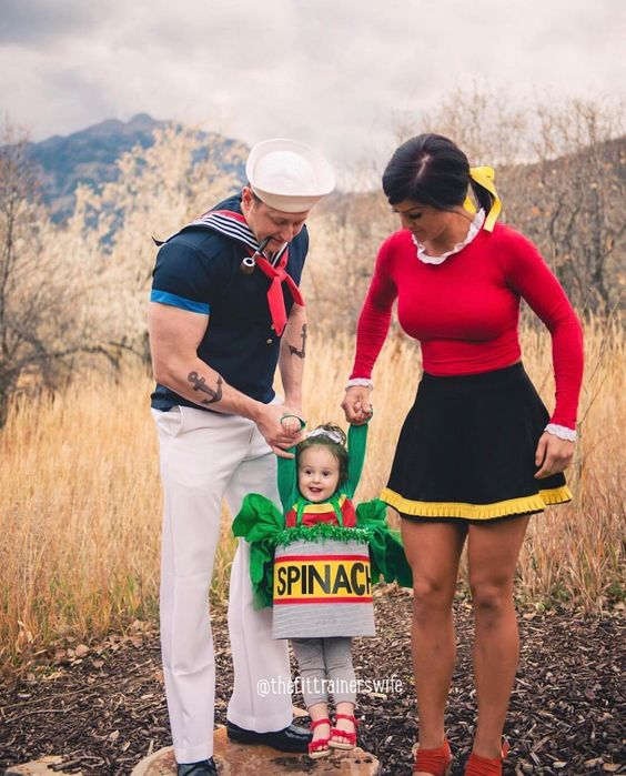 Popeye, Olive Oil and Spinach Halloween Costume Ideas - Family Costumes