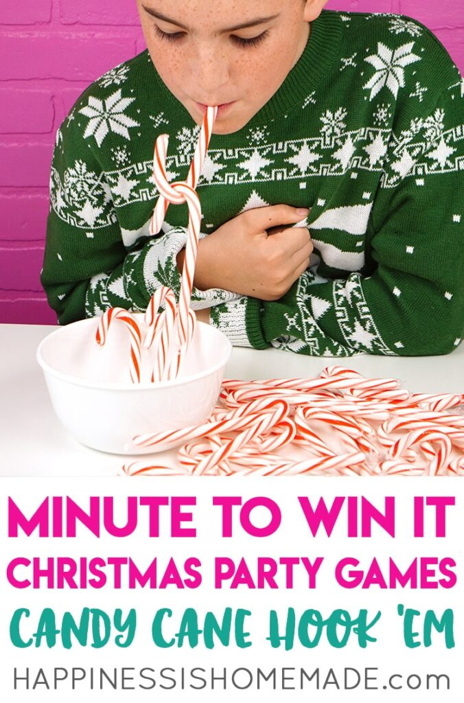 Candy Cane Hook - The BEST Christmas Minute To Win It Games for kids and family. These are so much fun to play around the holidays. #christmas #family #fun #kids