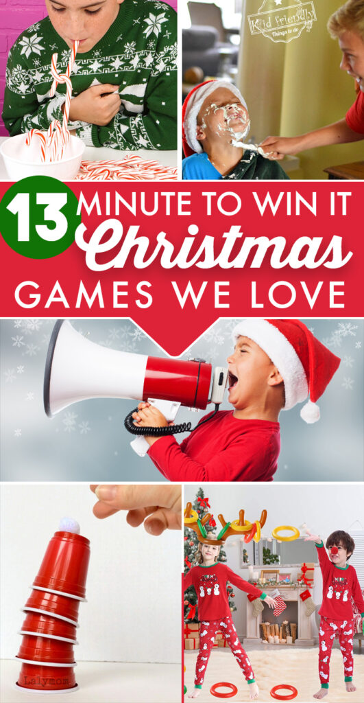The BEST Christmas Minute To Win It Games for kids and family. These are so much fun to play around the holidays. #christmas #family #fun #kids
