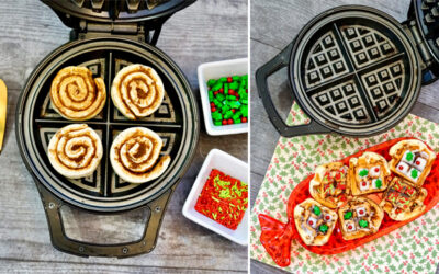 Cinnamon Roll Waffles with a holiday flare is your new favorite Christmas breakfast.