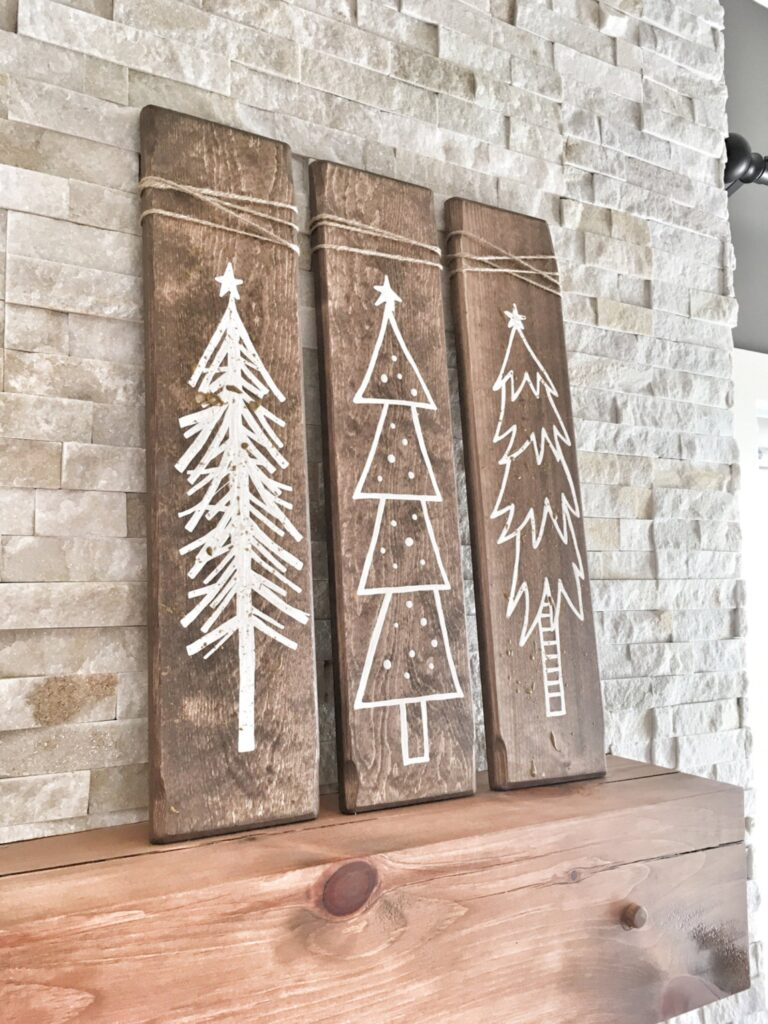 rustic wooden Christmas signs