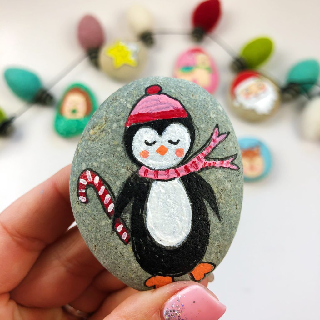 penguin Christmas painted rocks