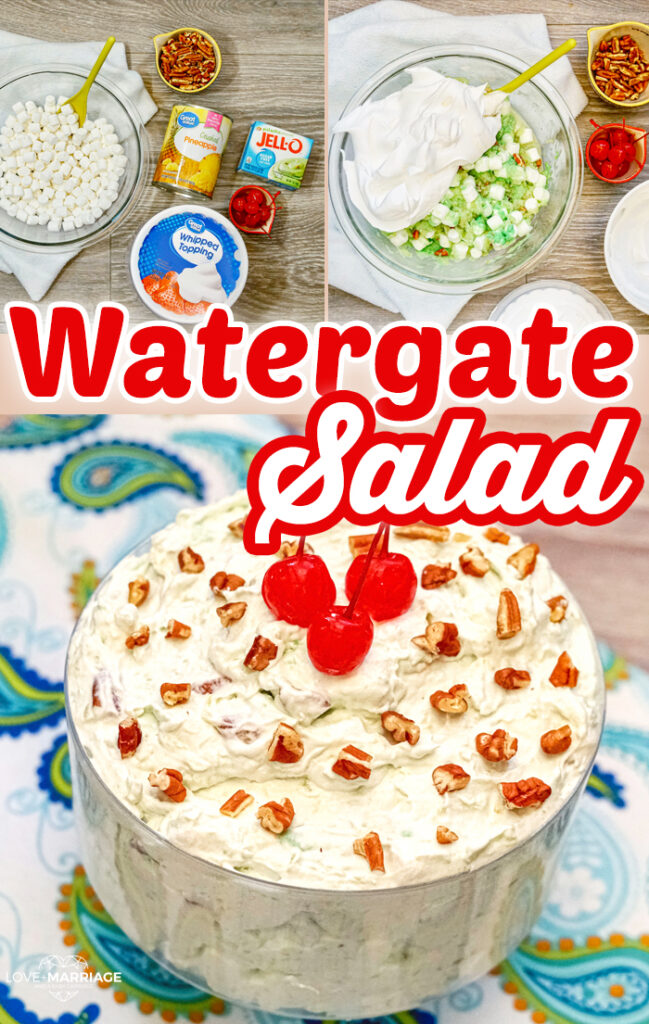 This Watergate Salad is the best recipe you'll find out there. It's incredibly easy to make and ready in less than 5 minutes. #dessert #recipe #yummy #food #watergatesalad #pistachio #pineapple #marshmallow