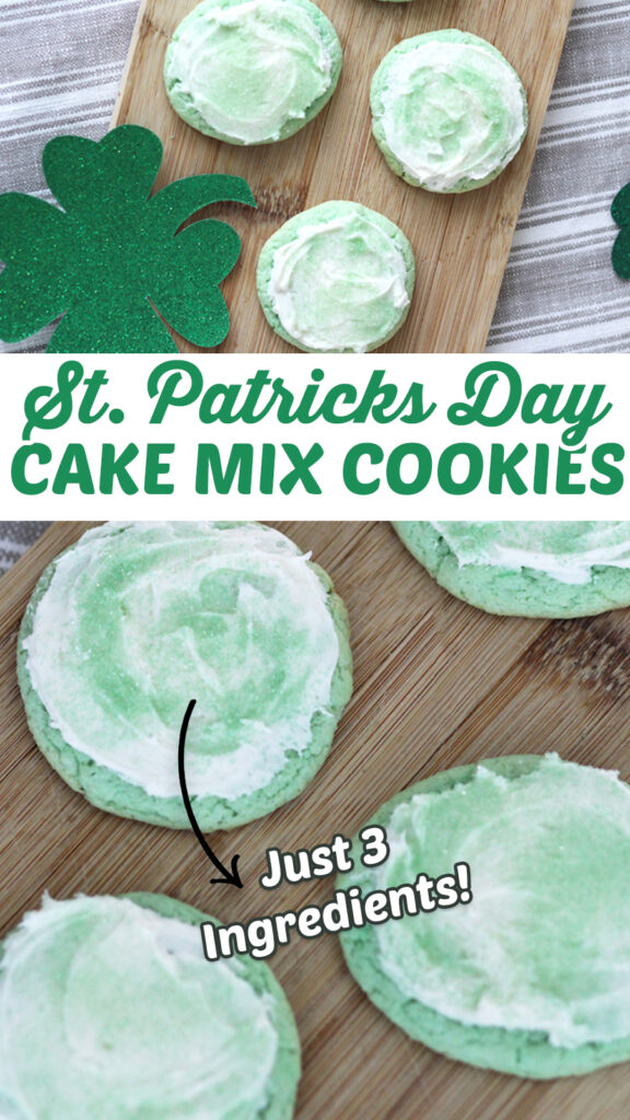 St. Patrick's Day Cookies - A super easy cookie recipe made with cake mix - only three ingredients! St Patricks Day Food #cookies #stpatricksday #green #cakemixcookies #food #yummy