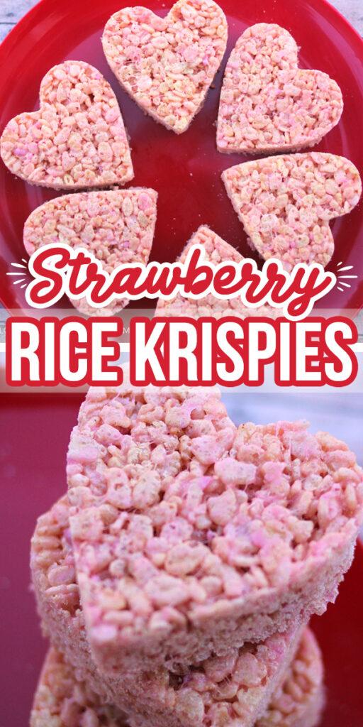 Strawberry Valentine Rice Krispie Treats | Valentine's Treats #yummy #food #valentinesday