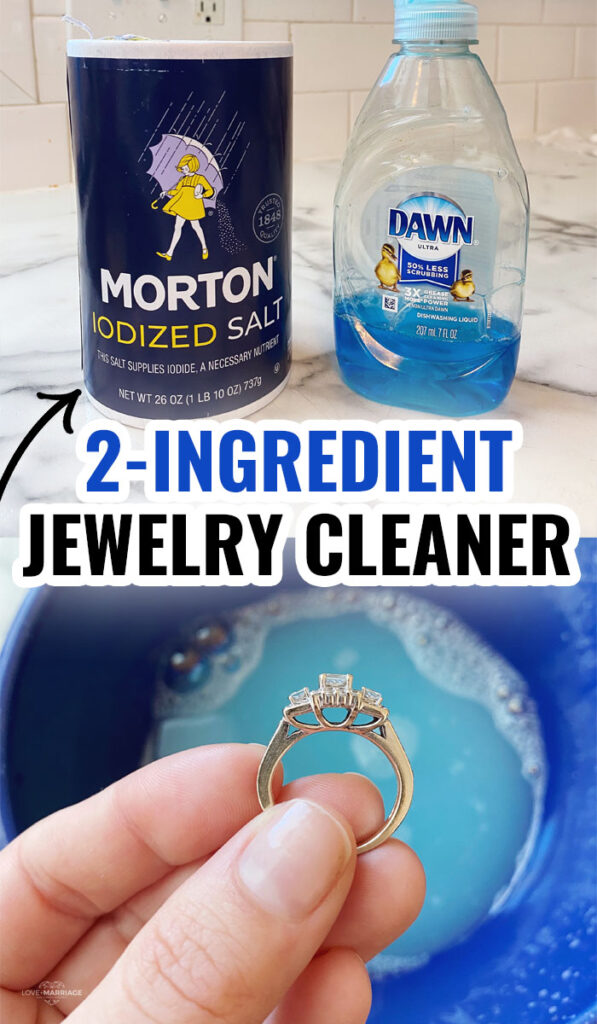 2-Ingredient Homemade Jewelry Cleaner. How to clean your rings at home with a super easy DIY. #clean #hacks #tips #tricks #diy