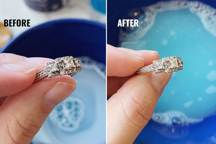 Homemade Jewelry Cleaner before and after.