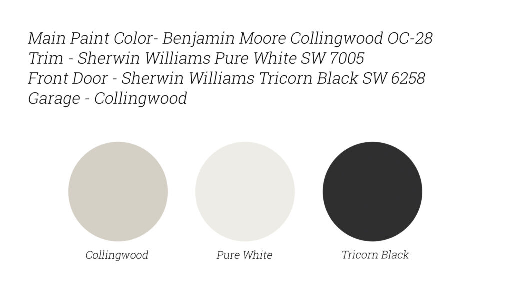 Benjamin Moore Collingwood - Exterior Home Paint Colors. Grey Exterior Paint. Sherwin Williams Tricorn Black