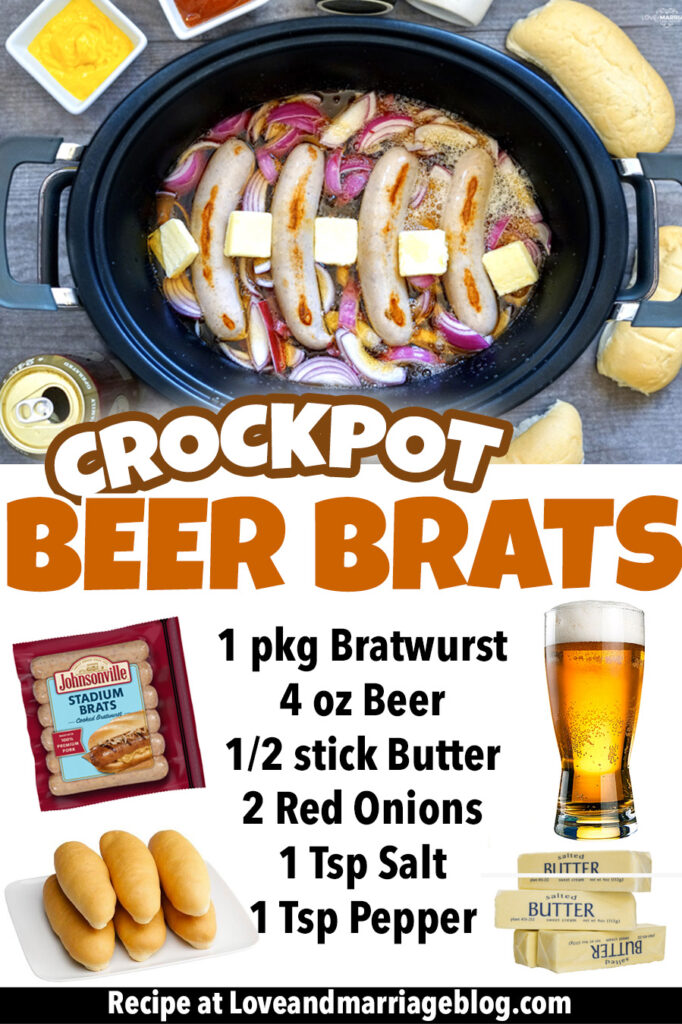 The best Crockpot Beer Brats recipe. Super flavorful and great for game day, lunch or dinner. #Recipes