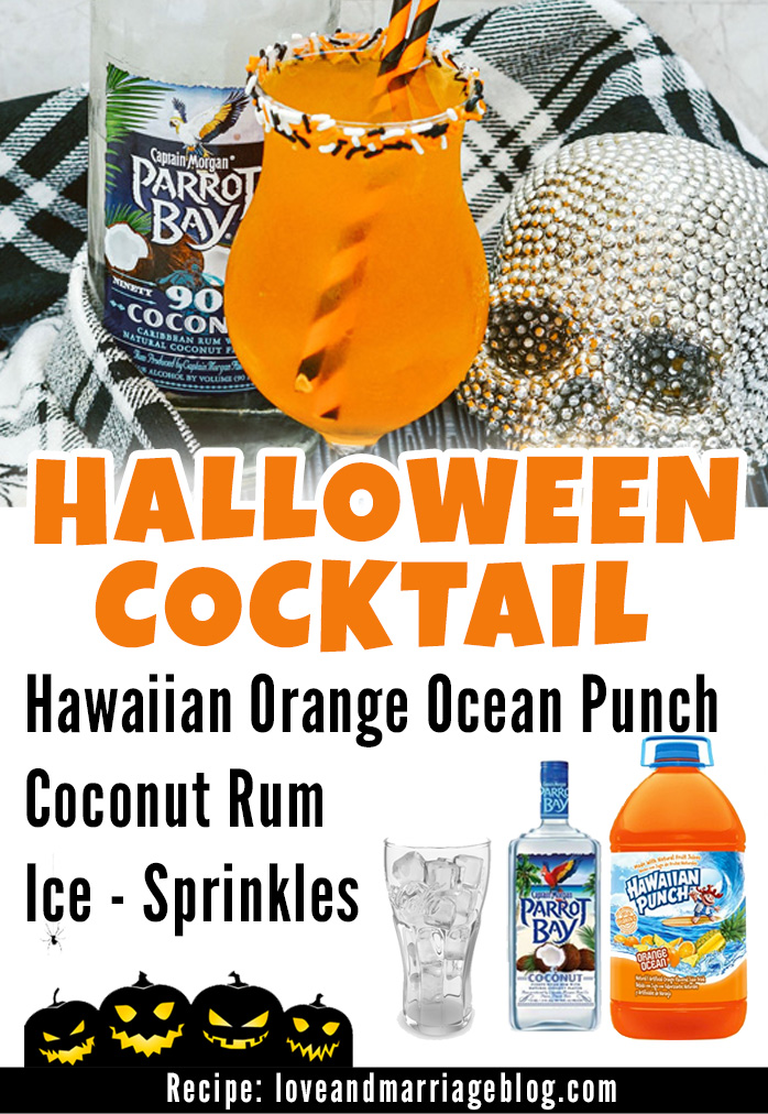 Easy Halloween Cocktail Recipe with Coconut Rum and Orange Punch.   Halloween Drinks #Recipes