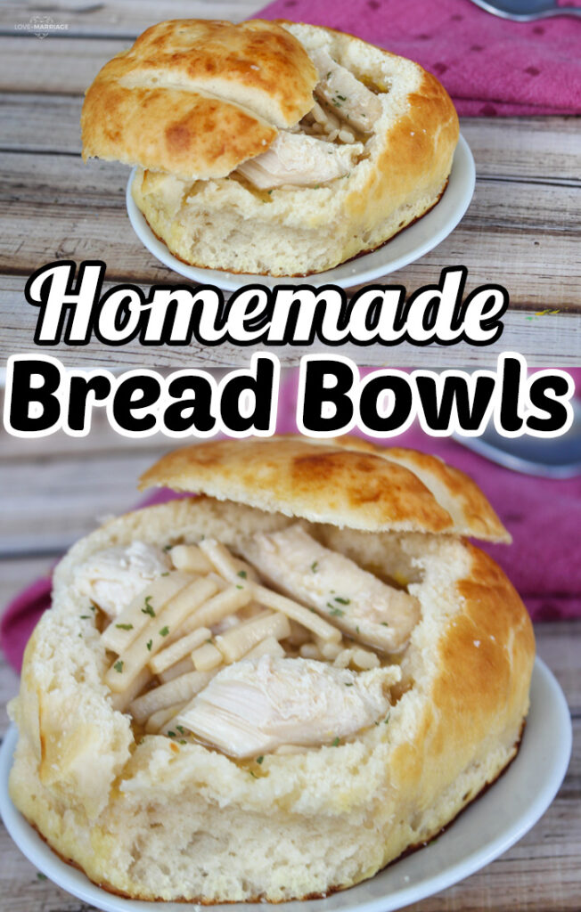 This Homemade Bread Bowls recipe is a simple way to make fresh baked bread perfect for your favorite soup or chili. #Recipes